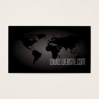 Black World Map Atlas Professional Business Card