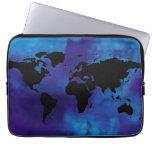 black world map . blue sea computer sleeve