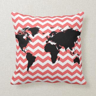 black world map / coral chevron throw pillow