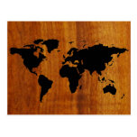 black world map graphic post cards