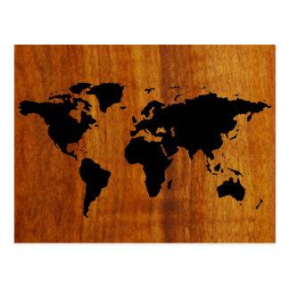black world map graphic postcard