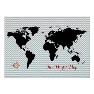 black world map on chevron poster