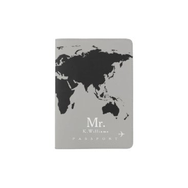 mixedworld black world map on gray with Mr. name Passport Holder