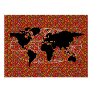 black world map polka dots poster