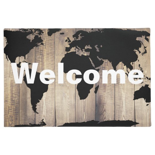 Black World Map Rustic Wood Planks Welcome Doormat