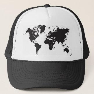 black world map trucker hat