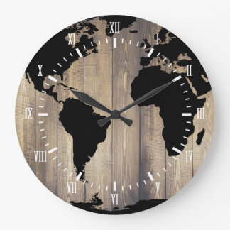 Black world map wall clocks zazzle black world map wooden planks white numerals large clock gumiabroncs Choice Image