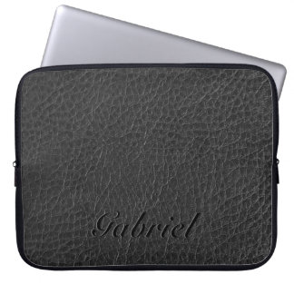 Black Worn-Out Fox Leather Look Monogram Computer Sleeve
