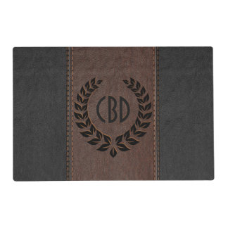 Black Wreath With Leather In Brown & Black Placemat