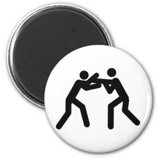 black wrestling sport icon 2 inch round magnet