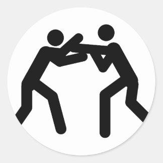black wrestling sport icon classic round sticker