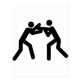 black wrestling sport icon postcard
