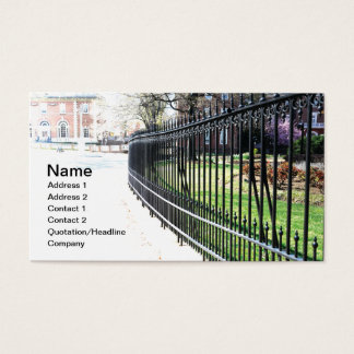 black wrought iron fence business card