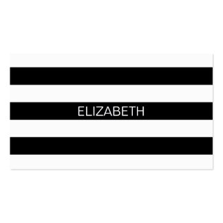 Black Wt Horizontal Preppy Stripe #2 Name Monogram Double-Sided Standard Business Cards (Pack Of 100)