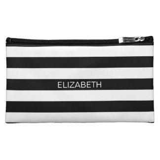 Black Wt Horizontal Preppy Stripe #2 Name Monogram Cosmetic Bag