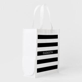 Black Wt Horizontal Preppy Stripe #2 Name Monogram Reusable Grocery Bag