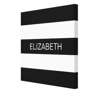 Black Wt Horizontal Preppy Stripe #3 Name Monogram Canvas Print