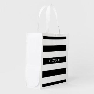 Black Wt Horizontal Preppy Stripe #3 Name Monogram Reusable Grocery Bag