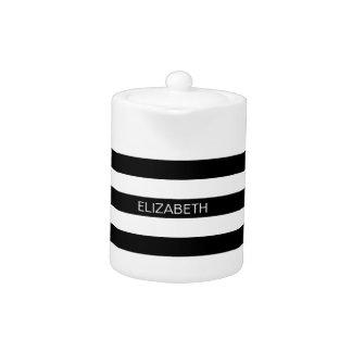 Black Wt Horizontal Preppy Stripe #3 Name Monogram Teapot