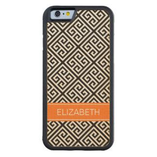 Black Wt Med Greek Key Diag T Pumpkin 3I Monogram Carved Maple iPhone 6 Bumper Case