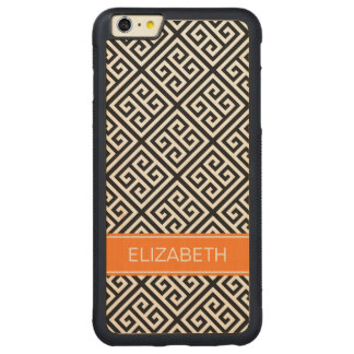 Black Wt Med Greek Key Diag T Pumpkin 3I Monogram Carved Maple iPhone 6 Plus Bumper Case