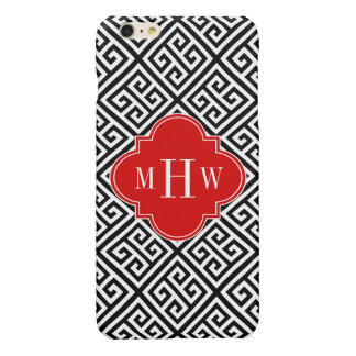 Black Wt Med Greek Key Diag T Red 3I Monogram Glossy iPhone 6 Plus Case