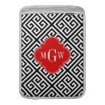 Black Wt Med Greek Key Diag T Red 3I Monogram MacBook Air Sleeve