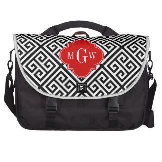 Black Wt Med Greek Key Diag T Red 3I Monogram Commuter Bag