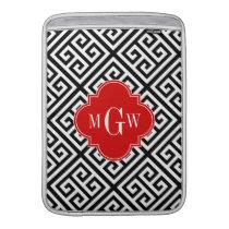 Black Wt Med Greek Key Diag T Red 3I Monogram MacBook Sleeve