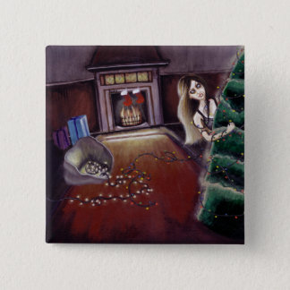 BLACK XMAS: Brighten up the Christmas lights Pinback Button