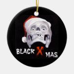 BLACK XMAS Double-Sided CERAMIC ROUND CHRISTMAS ORNAMENT