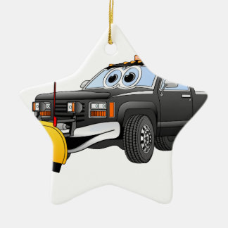 Black Y Pick Up Truck Snow Plow Cartoon Ceramic Ornament