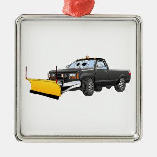Black Y Pick Up Truck Snow Plow Cartoon Metal Ornament