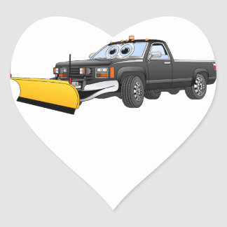 Black Y Pick Up Truck Snow Plow Cartoon Heart Stickers