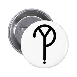 Black Y? Symbol- On White Button