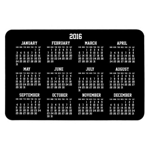 Year Calendar Magnetic : Black yearly calendar large flexible magnets zazzle