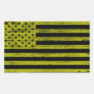 Black & Yellow American USA Flag Grunge Stickers