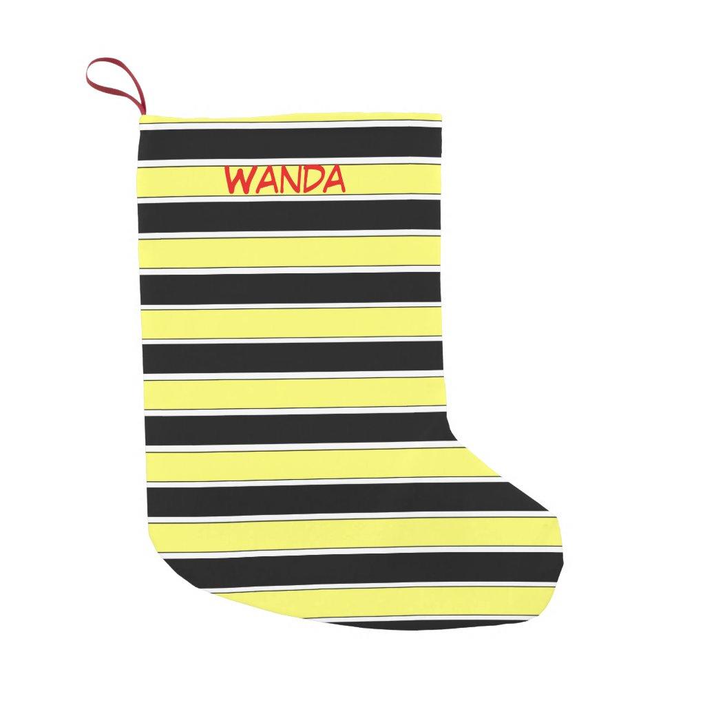 Black, Yellow and White Stripes Christmas Stocking