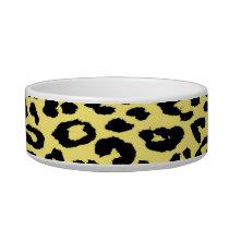 Black yellow animal print texture of leopard bowl