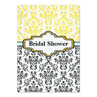 "Black yellow aqua damask wedding bridal shower 5"" x 7"" invitation card"