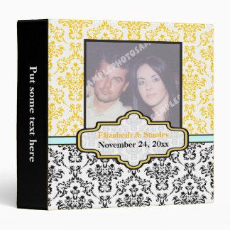 Black yellow aqua damask wedding custom binder binder
