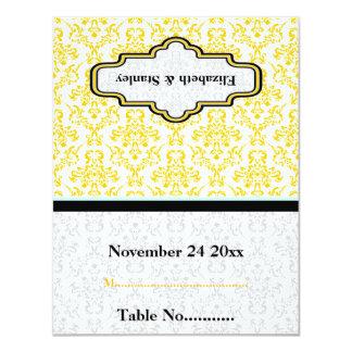 "Black yellow aqua damask wedding custom place card 4.25"" x 5.5"" invitation card"