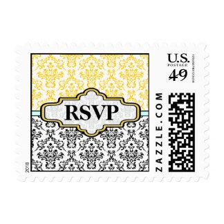 Black yellow aqua damask wedding custom RSVP stamp