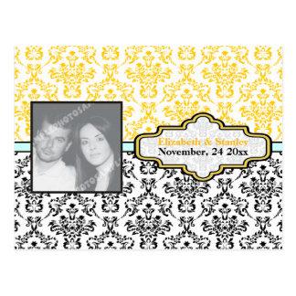 Black yellow aqua damask wedding Save the Date Post Card