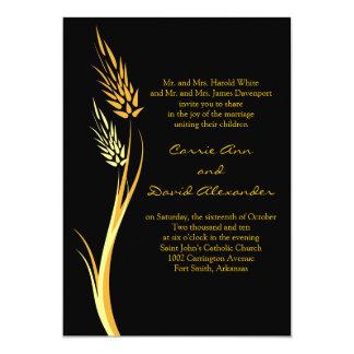 Black Yellow Autumn Wheat Wedding Invitation