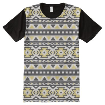 Aztec Themed Black yellow aztec tribal hobo pattern All-Over-Print shirt