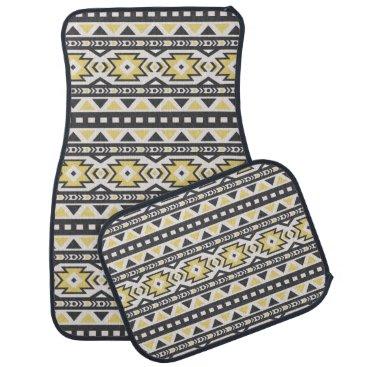 Aztec Themed Black yellow aztec tribal hobo pattern car floor mat