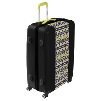 Black yellow aztec tribal hobo pattern luggage