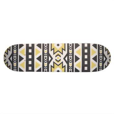 Aztec Themed Black yellow aztec tribal hobo pattern skateboard deck