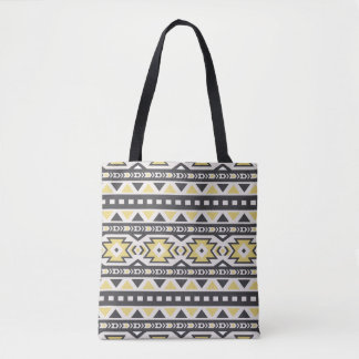 Black yellow aztec tribal hobo pattern tote bag